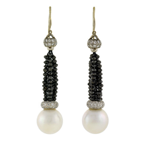 Estate 18kt Black Diamond & 14mm Pearl Earrings