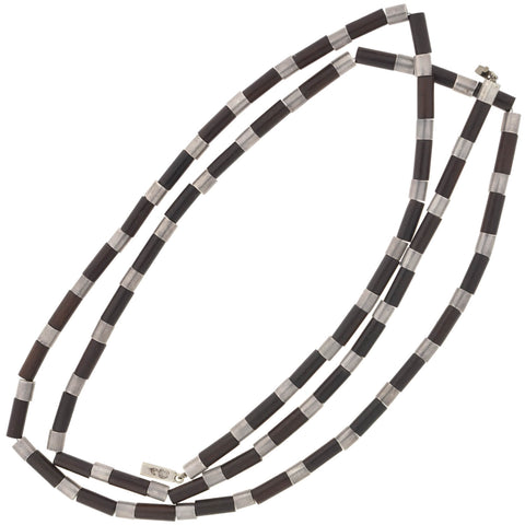 SPRATLING Vintage Sterling Rosewood Tube Link Necklace 51""