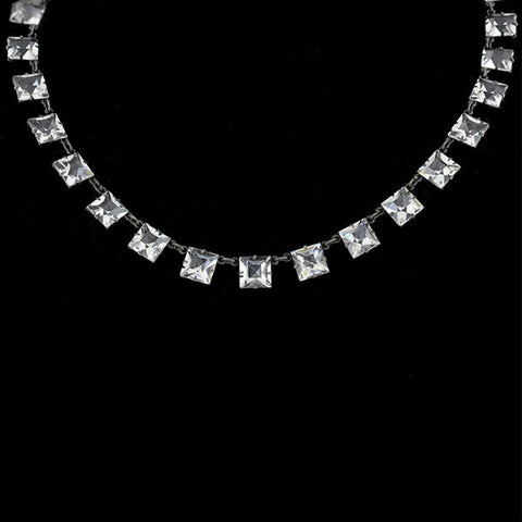 Art Deco Sterling & Faceted Square Crystal Necklace