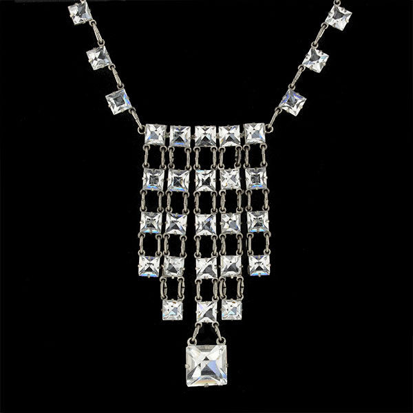 Art Deco Sterling & Tiered Multi-Strand Square Crystal Necklace