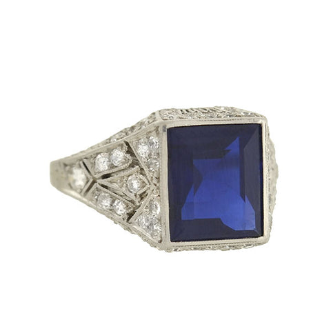 Edwardian Platinum Square Sapphire & Diamond Filigree Ring 2.25ct
