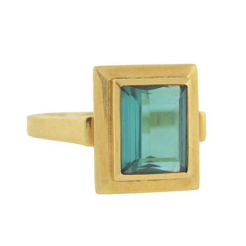 Estate 18kt Green Tourmaline Ring