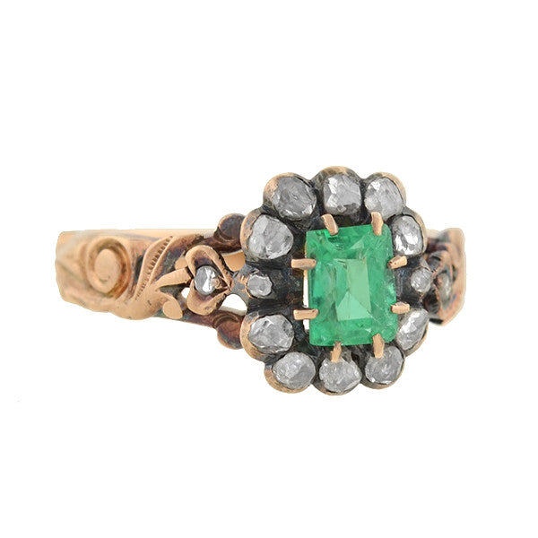 Victorian 14kt Emerald & Rose Cut Diamond Cluster Ring
