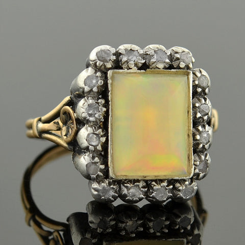 Victorian 18kt Sterling Opal & Rose Cut Diamond Ring