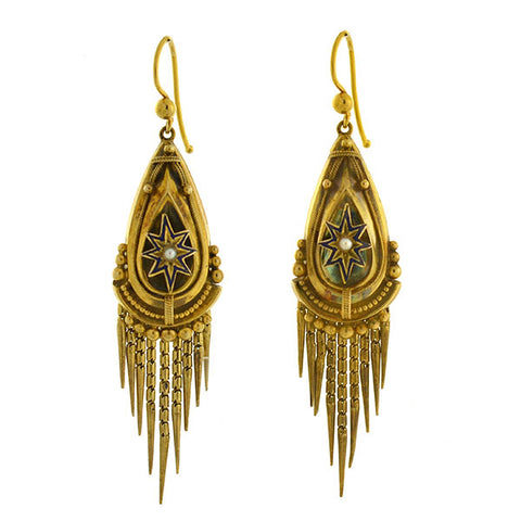 Victorian 15kt Pearl Enameled Starburst Foxtail Fringe Earrings