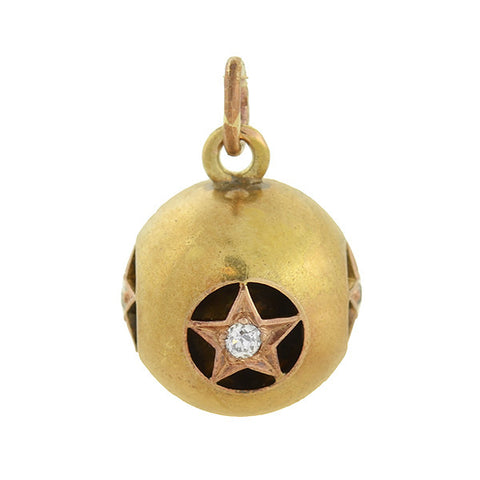 Victorian 18kt Diamond Star Hollow Ball Pendant 0.20ctw
