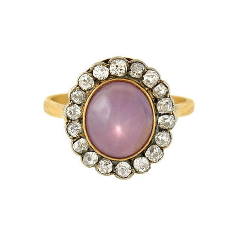 Victorian 18kt/Sterling Ceylon No-Heat Pink Star Sapphire & Diamond Cluster Ring 5.30ct