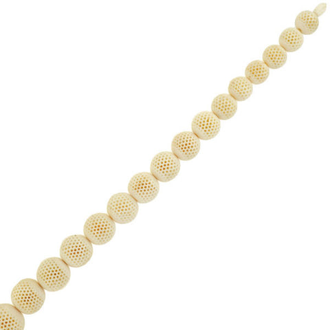 Victorian Star Cutout Hand Carved Ivory Bead Necklace