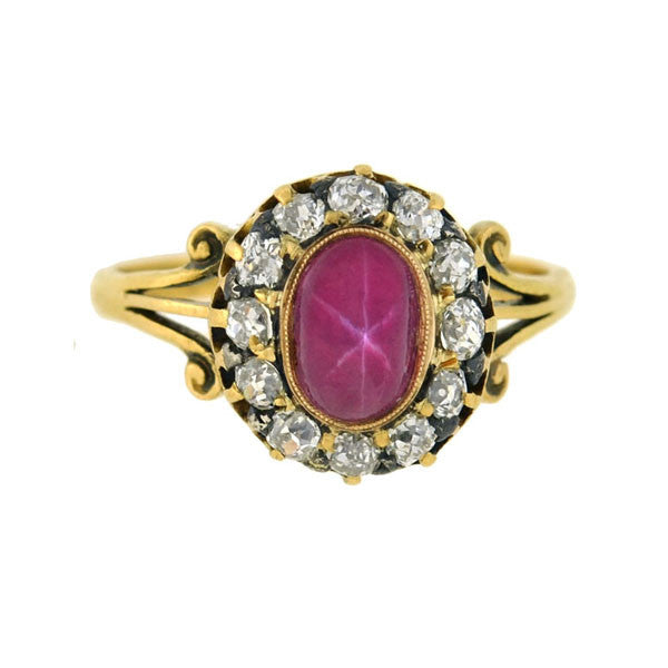 Victorian 18kt Pink Star Sapphire & Diamond Ring .95ct