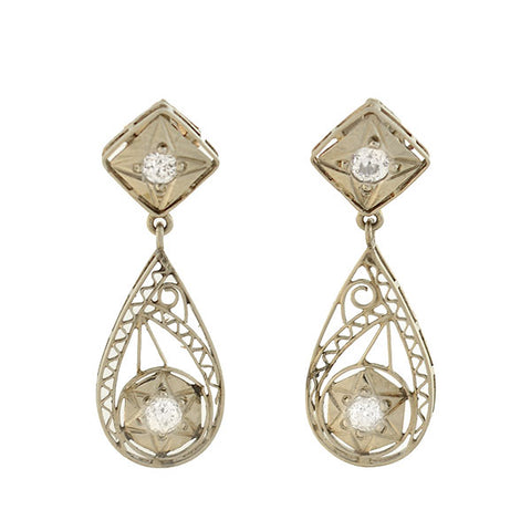 Art Deco 14kt Diamond + Starburst Filigree Teardrop Earrings