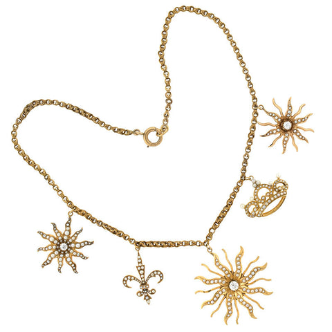 Victorian Seed Pearl & Diamond Sunburst Necklace