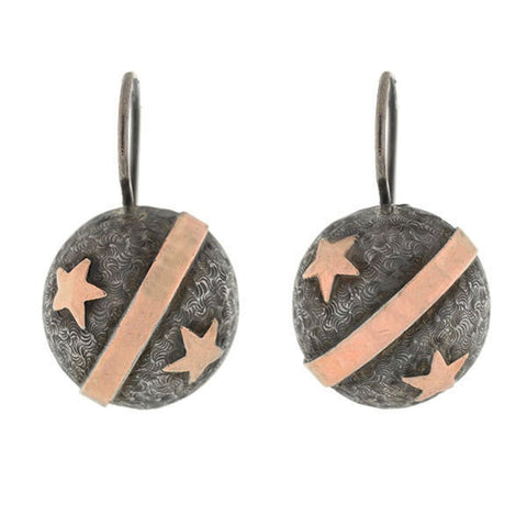 Victorian Contintenal Silver 9kt Rose Gold Star & Stripe Earrings