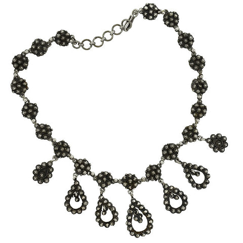 "Victorian Sterling ""Cut Steel"" Festoon Style Necklace"