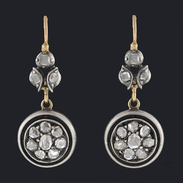 Victorian 14kt & Sterling Rose Cut Diamond Cluster Earrings
