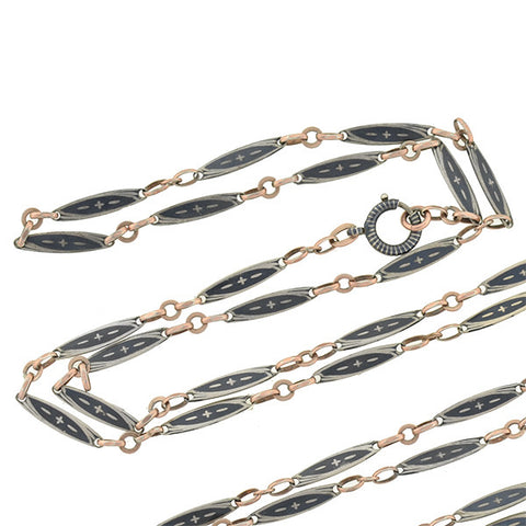 Victorian Long Niello Sterling & Rose Gold Chain 58""