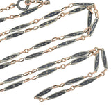 Victorian Long Sterling & Rose Gold Niello Link Chain 58