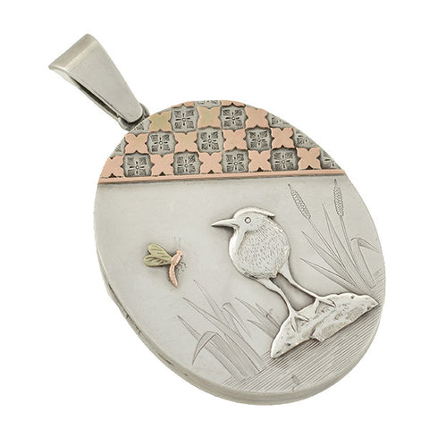 Late Victorian Sterling & 15kt Etched Locket w/ Bird