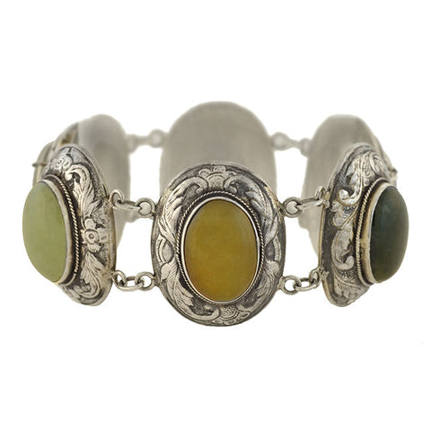 Retro Chinese Silver Multi Colored Jade Link Bracelet