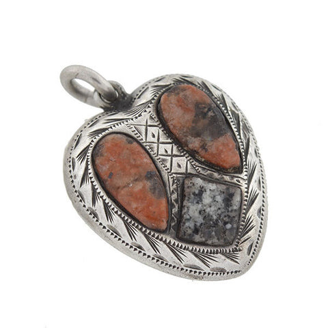 Victorian Sterling Scottish Agate & Granite Puffy Heart Pendant