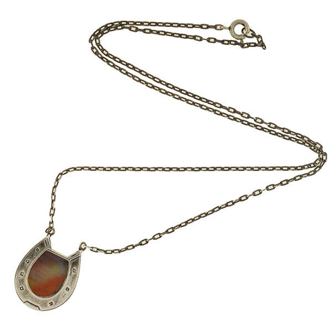 Victorian Sterling Agate Horseshoe Pendant Necklace