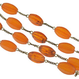 Victorian Long Sterling & Amber Bead Necklace 60
