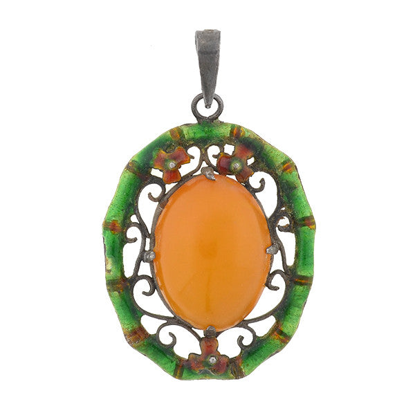 Arts & Crafts Sterling Amber & Enamel Wirework Pendant