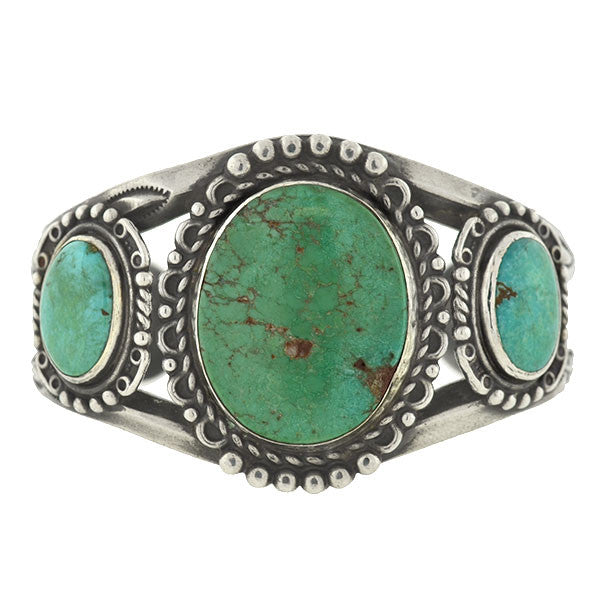 Vintage American Indian Sterling & Turquoise Cuff Bracelet
