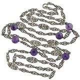 Art Deco Sterling Amethyst Floral Link Necklace 60
