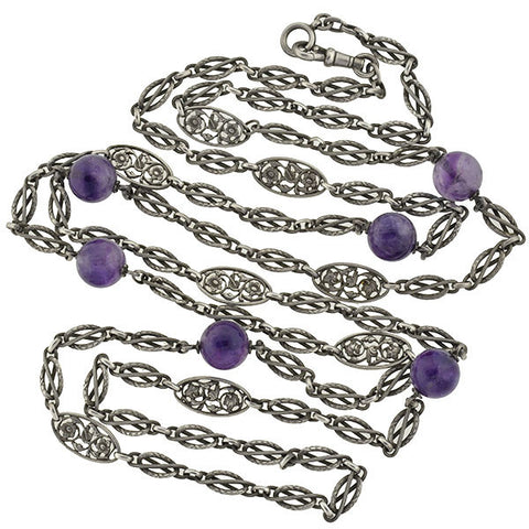 Art Deco Sterling Amethyst Floral Link Necklace 60""