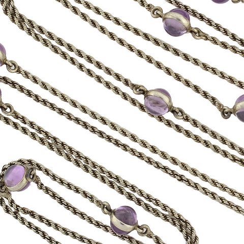 Late Victorian Long Sterling & Amethyst Cabochon Chain