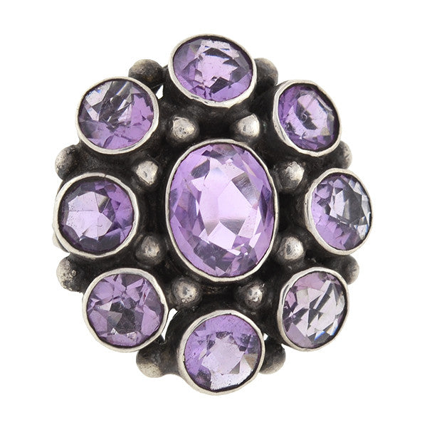 Early Retro Sterling Amethyst Cluster Ring