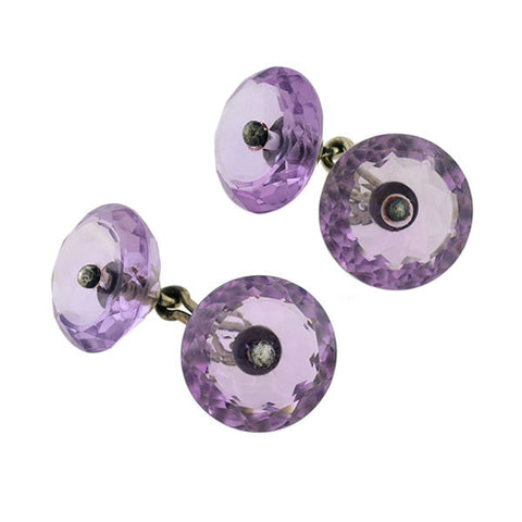 Victorian Sterling Faceted Amethyst Cufflinks