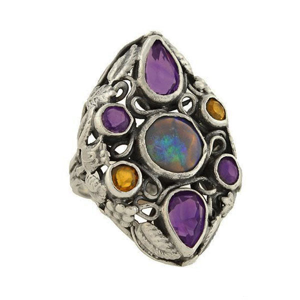 Early Retro Large Sterling Multi Gemstone Cluster Ring