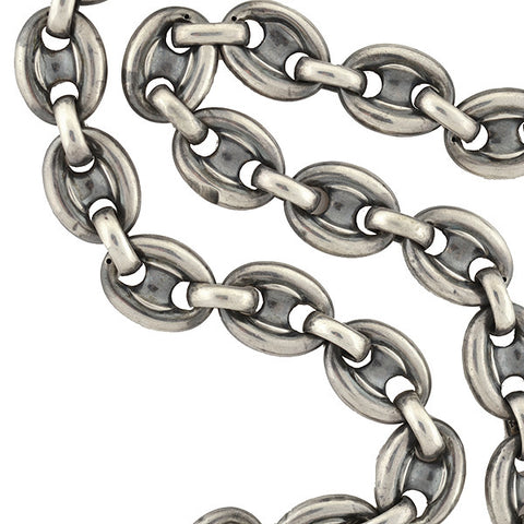 "Victorian Sterling ""Gucci Style"" Anchor Link Chain Necklace"