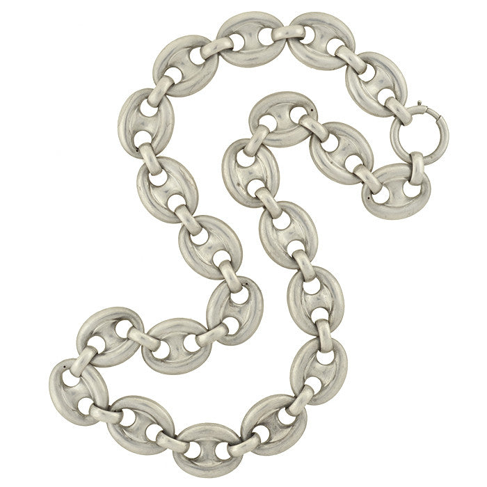 Victorian Sterling Silver Mariner Anchor Link Chain Necklace