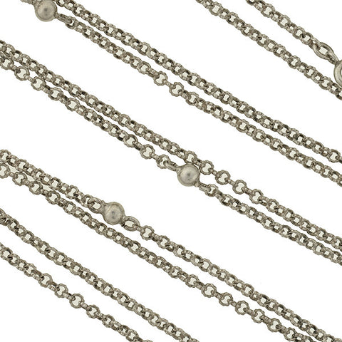 Late Victorian Long Silver Ball Link Chain 60""