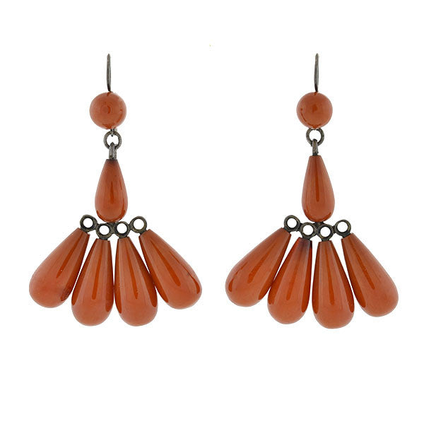 Art Deco Sterling & Natural Baltic Amber Fan Earrings