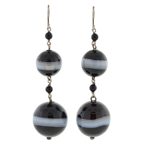 Victorian Sterling & Banded Agate Double Bead Earrings