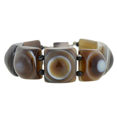 Victorian Banded Agate Link Bracelet with Sterling Clasp
