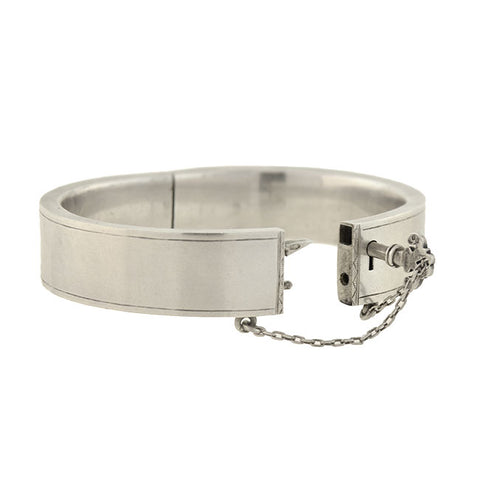 Victorian Austrian Silver Etched Lock + Key Bangle Bracelet
