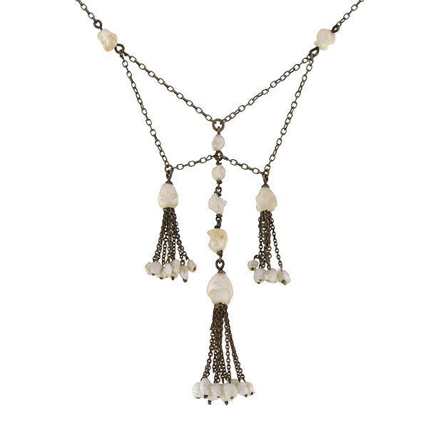 Edwardian Sterling & Mississippi River Pearl Tassel Necklace