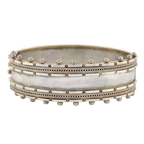 Victorian Sterling Hinged Beadwork Bangle Bracelet