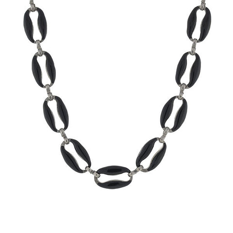 Vintage Silver & Black Enamel Link Necklace
