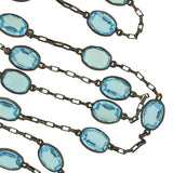 Art Deco Sterling & Blue Czech Crystal Necklace 30