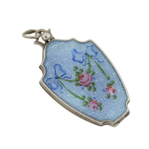 Art Deco Petite Sterling & Blue Guilloché Enamel Locket