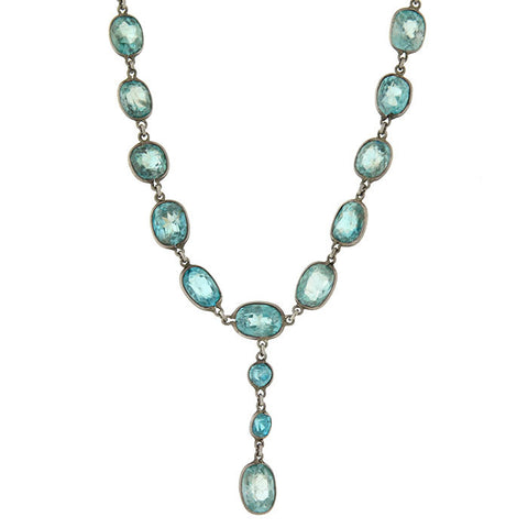Retro Silver Gilt Faceted Natural Zircon Adjustable Necklace