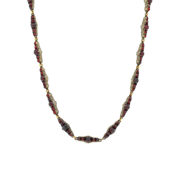 Victorian Sterling Gilt & Bohemian Garnet Link Necklace
