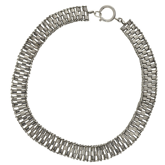 "Victorian Sterling Silver ""Tire Track"" Book Chain Necklace"