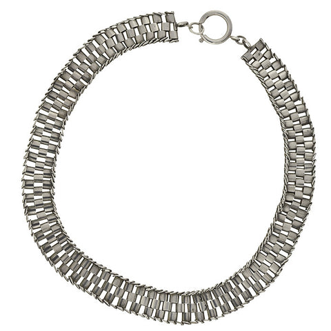 "Victorian Sterling Silver ""Tire Track"" Book Chain Necklace 19.5"""