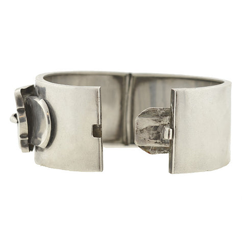Victorian English Sterling Wide Double Buckle Bracelet